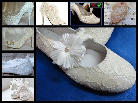 forrar zapatos con encaje de novia o comunion igual que el vestido - YouTube