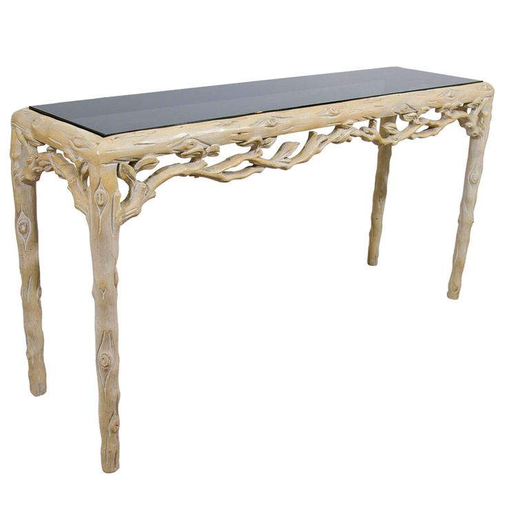Midcentury Console Table with Leaf and Branch Design | From a unique collection of antique and modern console tables at https://www.1stdibs.com/furniture/tables/console-tables/