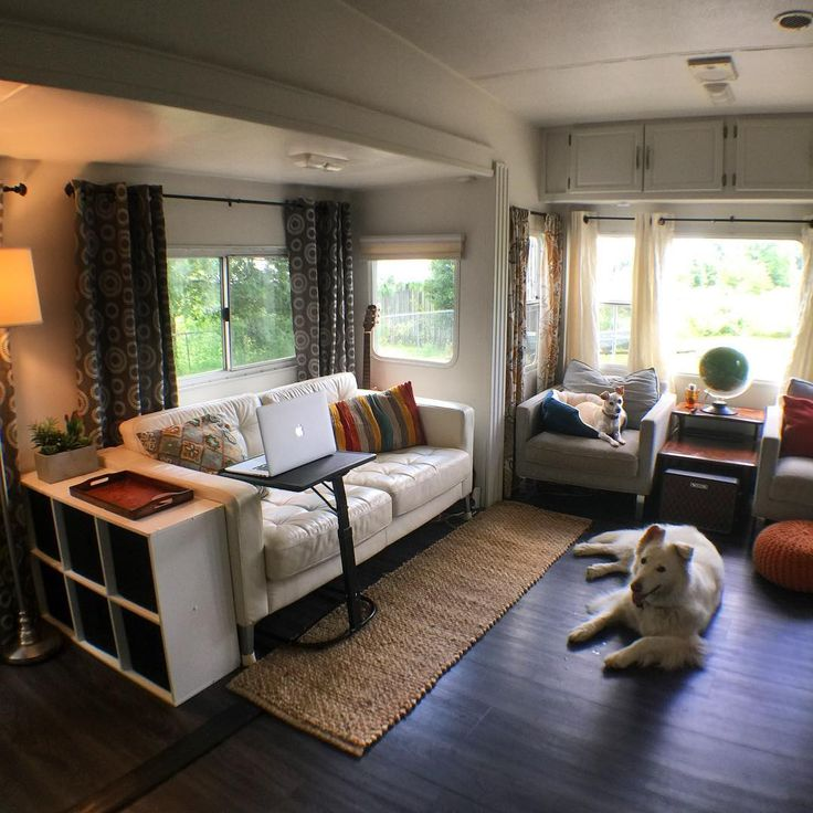 """Slowly but surely the fifth wheel is coming back together again! Between moving stuff in and tossing stuff out, this place has been a disaster. So excited for some new functionality that we've added including my new computer """"desk"""" and some useable storage!"""