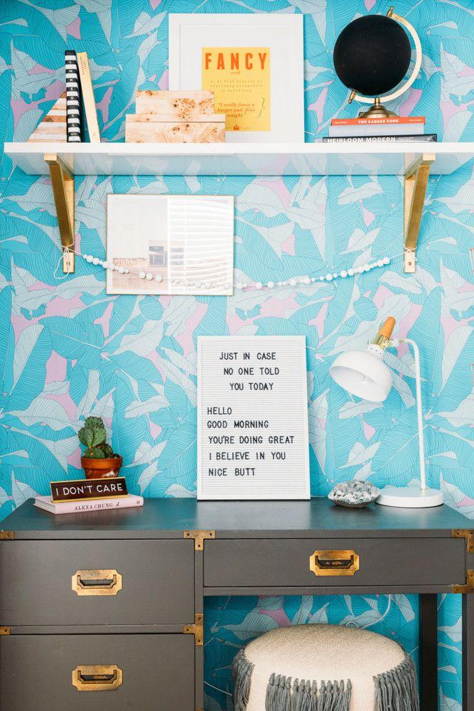 Cara Irwin Of Goldalamode Home Tour Tropical Blue Wallpaper