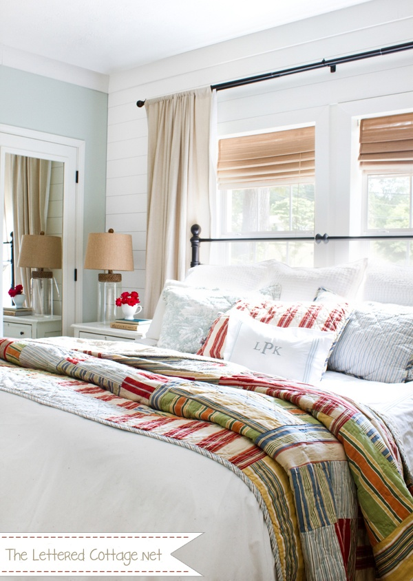 Beautiful master bedroom over at The Lettered Cottage. So much to love, but my favorite is the quilt - I need a quilt like that.