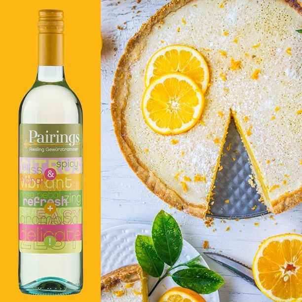 PALATE PAIRING Are you an undercover (or loud + proud) sweet tooth? Our zesty Pairings Riesling Gewürztraminer pairs superbly with a lemon tart!  Recipe available at The Food Charlatan. Wine available through Dan Murphy's  online store.