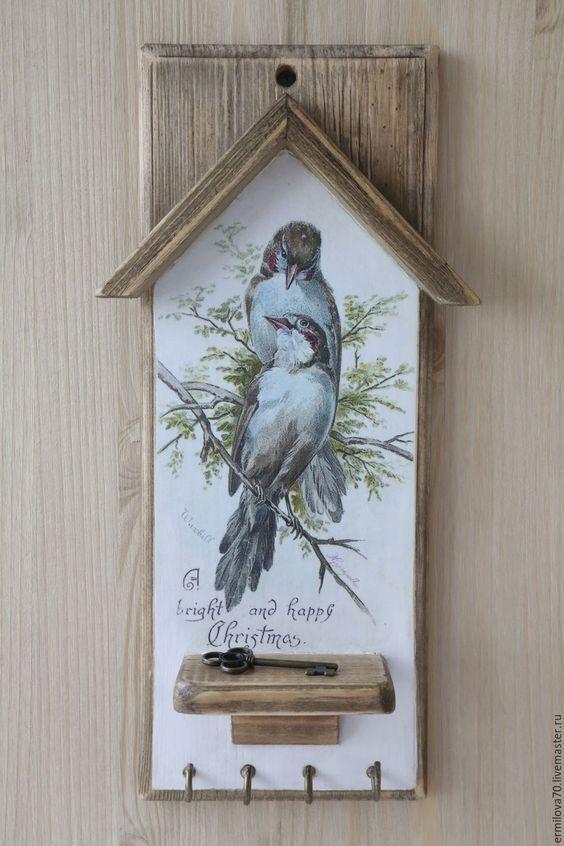 """Купить Ключница """"Птицы"""" - ключница, для прихожей, птицы, птицы на ветке, для ключей, вешалка, вешалка для кухни:"""