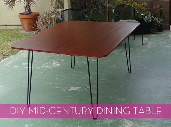 DIY mid-centruy modern table.   This would be great for a desk. Maybe I will make one for Richard when we have more space.