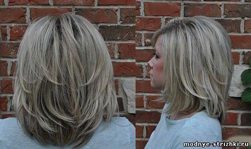 каскад на средние волосы вид сзади - Поиск в Google