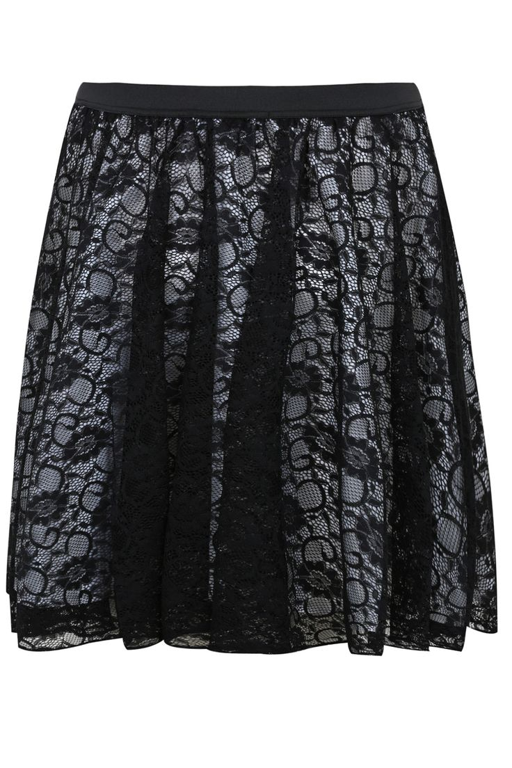 SCARLETT & JO Black Lace Layered Midi Skater Skirt With White Lining