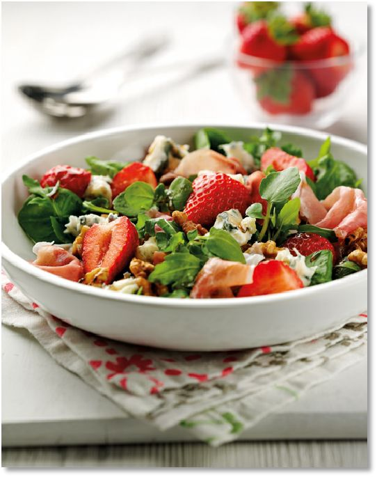 Low FODMAP Strawberry, PArma Ham & Dolcelatte Salad  -  gluten free   http://www.ibssano.com/low_fodmap_recipe_strawberry_parma_ham_dolcelatte.html
