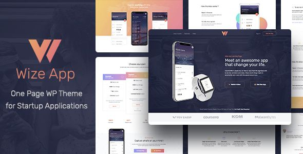 Wizeapp One Page App Landing Wordpress Theme Responsive Business Wordpress Themes Wordpress Theme