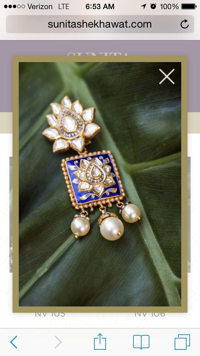 Enameled kundan earrings