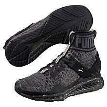 IGNITE evoKNIT Metal Women Trainers:  This special version of the trainer provides a knitted upper with a shimmering metallic thread for form-fitting comfort in a unique design. A TPU piece and support strap stabilize the heel by locking it onto the platform, while seamlessly bonded overlays increase comfort and fit. Mounted on the IGNITE 3 tooling for enhanced energy return and a smooth ride.    Sock-like knitted textile upper with bold collar height.