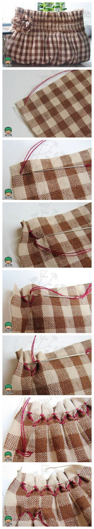 Pic tutorial pinched ruffle border for a cute bag check it out!