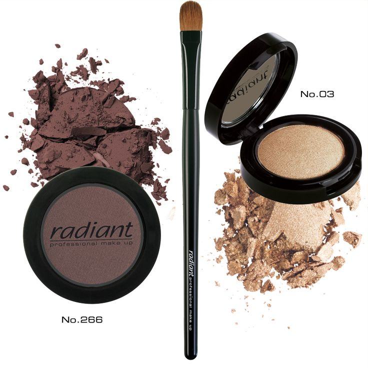 Blend two eye shadows, a matt and a shimmer in warm earthy tones for a sophisticated eye make up look: Try Professional Eye Color No 266 and Diamond Effect Shadow No 03 #radiant #professional #makeup #eyeshadows #brush #beauty #products