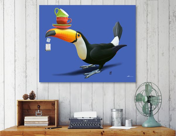 Discover «Tea For Tou (Colour)», Numbered Edition Canvas Print by rob art | illustration - art | decor | wall art | inspiration | animals | home decor | idea | humor | gifts