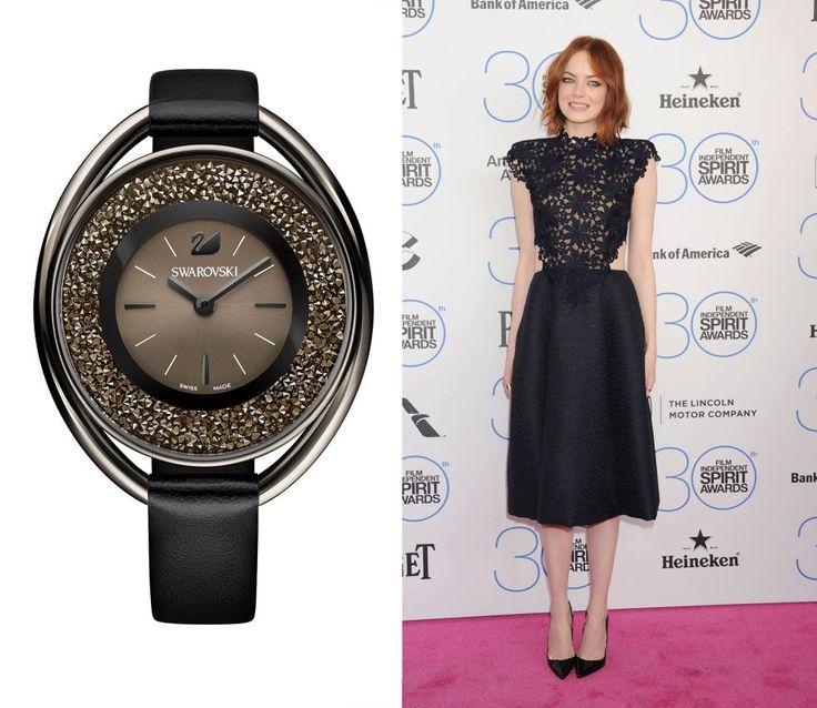Come i colori di Emma Stone, usa il nero chic con cristalli marron glacé per una mezzanotte bon ton Orologio Crystalline con cassa ovale, cristalli mobili e cinturino in pelle, Swarovski