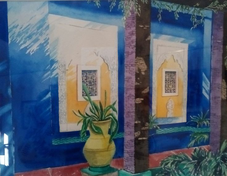 ombre et lumi re dans les jardins de majorelle marrakech aquarelle christine monsion. Black Bedroom Furniture Sets. Home Design Ideas