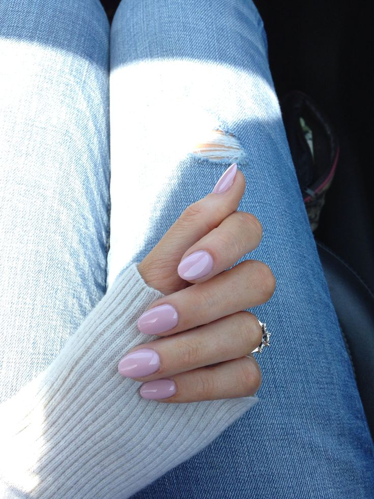 Nude pink oval nails