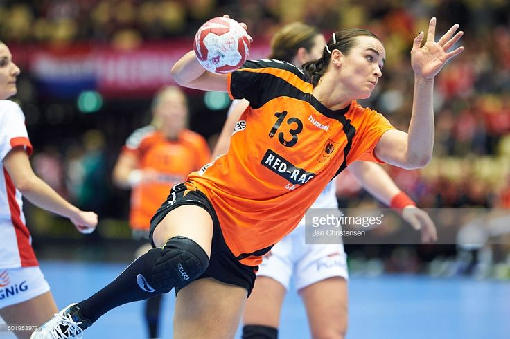 Yvette Broch of Netherlands in action during the 22nd IHF Women's Handball World Championship Semi Final match between Netherlands and Poland in Jyske Bank Boxen on December 18, 2015 in Herning, Denmark.