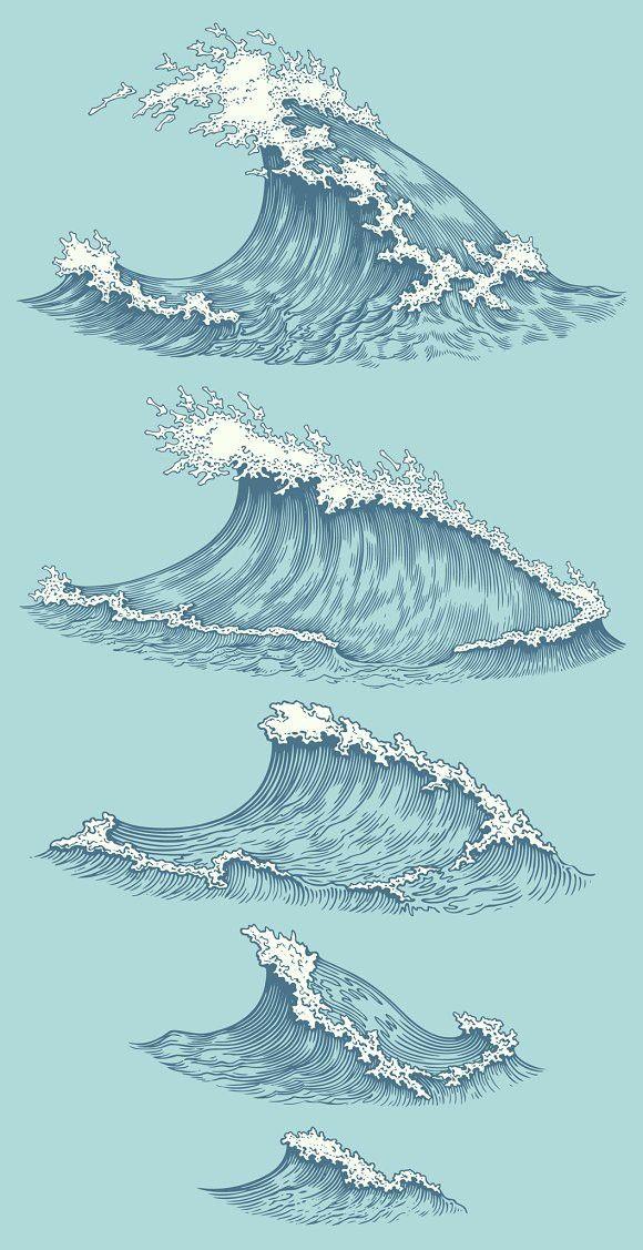 Set Sea waves. Vector engraving.