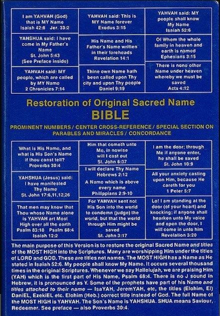 Restotation of Original Sacred Name Bible JW.Org Watchtower Jehovah YAHVAH Knorr