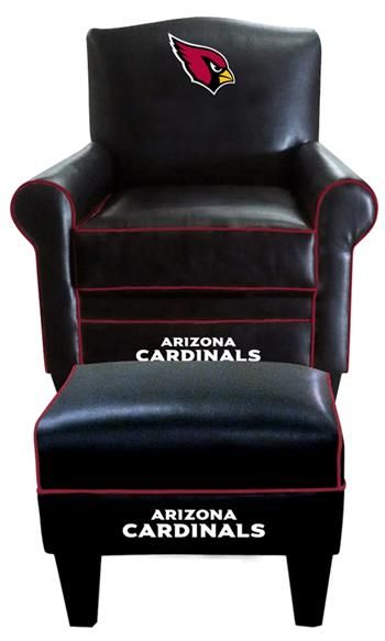 Arizona Cardinals Leather Game Time Chair and Ottoman