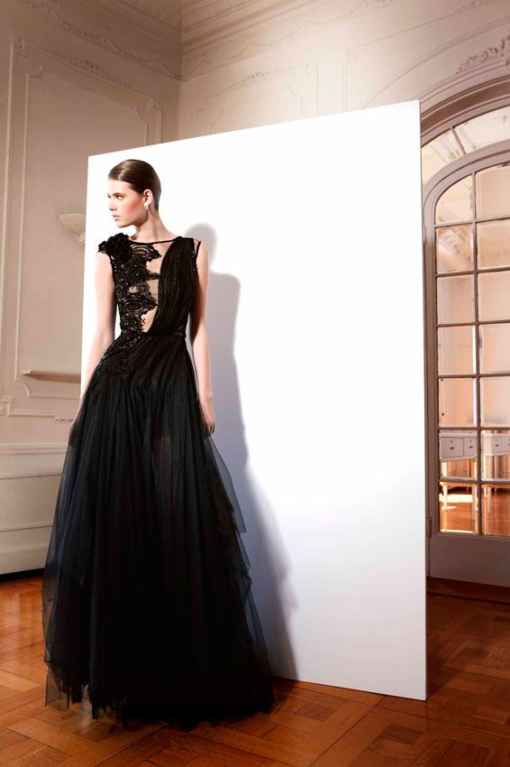 Couture black dress by YolanCris. Barroque Spring · 2013 Evening gowns & cocktail dresses made in Barcelona