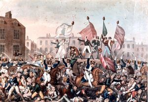 A painting of the Peterloo Massacre published by Richard Carlile. 16 August, 1819, St Peters Field, Manchester, England. 15 killed, 650 injured.