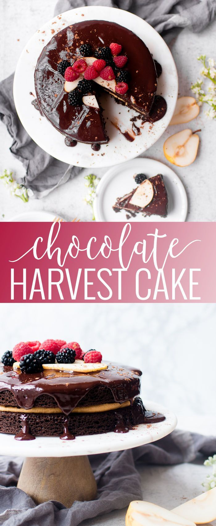 Chocolate Harvest Cake | fall cake recipes | fall fruit recipes | recipes using fall fruits | harvest dessert recipes | fall dessert recipes | chocolate cake recipes || Oh So Delicioso #falldesserts #harvestcake