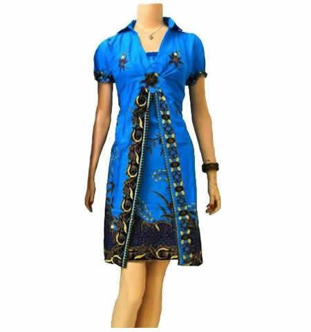 dress batik modern biru BD10 di katalog http://sekarbatik.com/dress-batik/