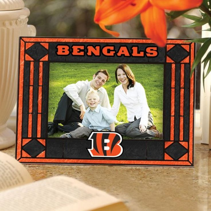 Cincinnati Bengals Black Art-Glass Horizontal Picture Frame