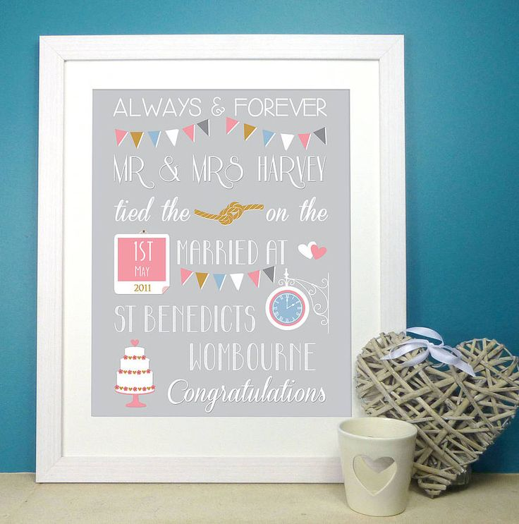 personalised wedding print by the little paper company | notonthehighstreet.com