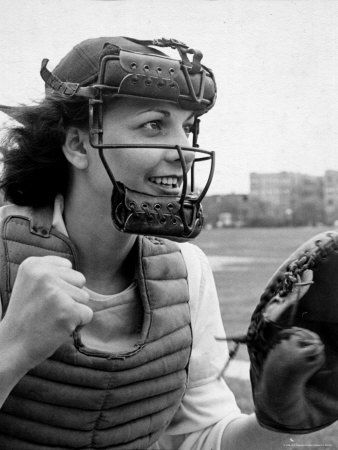 """Mary """"Binnie"""" Baker plays catcher for South Bend team in All American Girls Baseball LEague"""