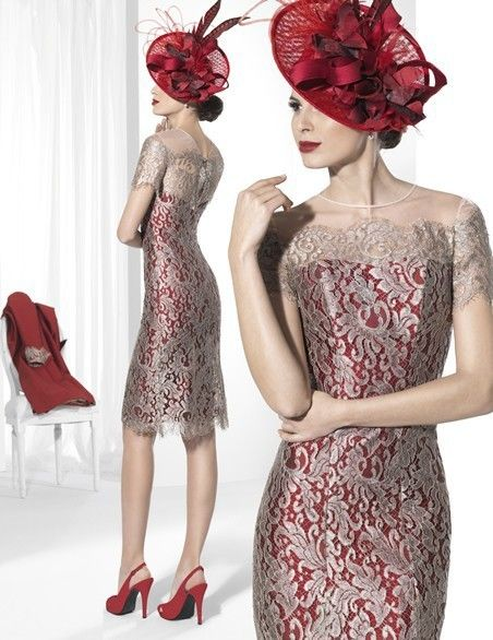 2015-Mother-Of-The-Bride-Dresses-Sheath-High-Collar-Short-Sleeves-Knee-Length-Red-Satin-Lace (1)