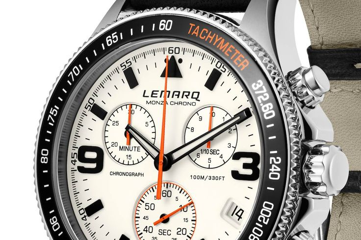 The distinctive orange hands are inspired by the tachometers of iconic racing cars from the seventies and eighties.  ➜ See more at www.lemarqwatches.com