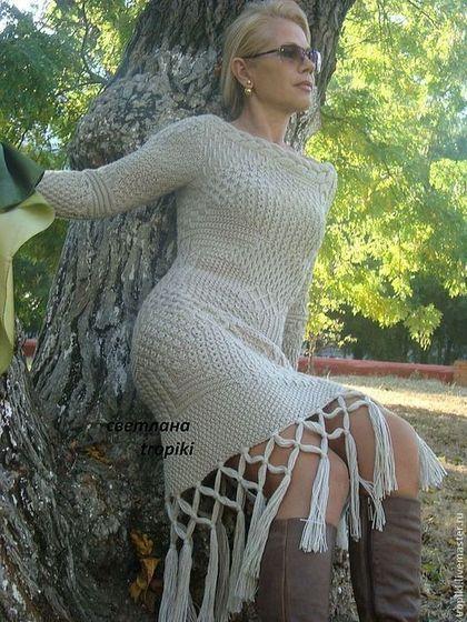 """Abiti fatti a mano.  Masters Fiera - fatti a mano.  Comprare un vestito lavorato a maglia """"Unique"""".  Fatto a mano.  Beige, fatto a mano"""