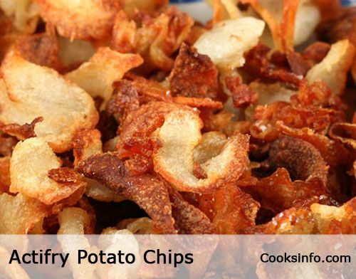 ACTIFRY GOURMET POTATO CHIPS. Cooked in duck fat and sprinkled with crispy flakes of Maldon sea salt. Easy, decadent, and succulent -- and, two-thirds less fattening than store bought potato chips (crisps.)  http://www.cooksinfo.com/actifry-gourmet-potato-chips-crisps