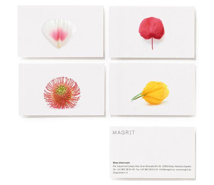 PATI NUÑEZ Magrit  2004  Siempre hemos visto los zapatos de Magrit como flores: osados, sensuales, coloridos, presumidos... son como las flores para las plantas: sus armas de seducción. Y son zapatos de cuento.  Pusimos en sus cajas imágenes fotográficas de pétalos, para obtener flores imaginarias, diferentes de las flores reales. El fondo es blanco, como la luz. Las bases e interiores de las cajas son de colores vivos y cálidos que explican su filosofía de marca: una eterna primavera.