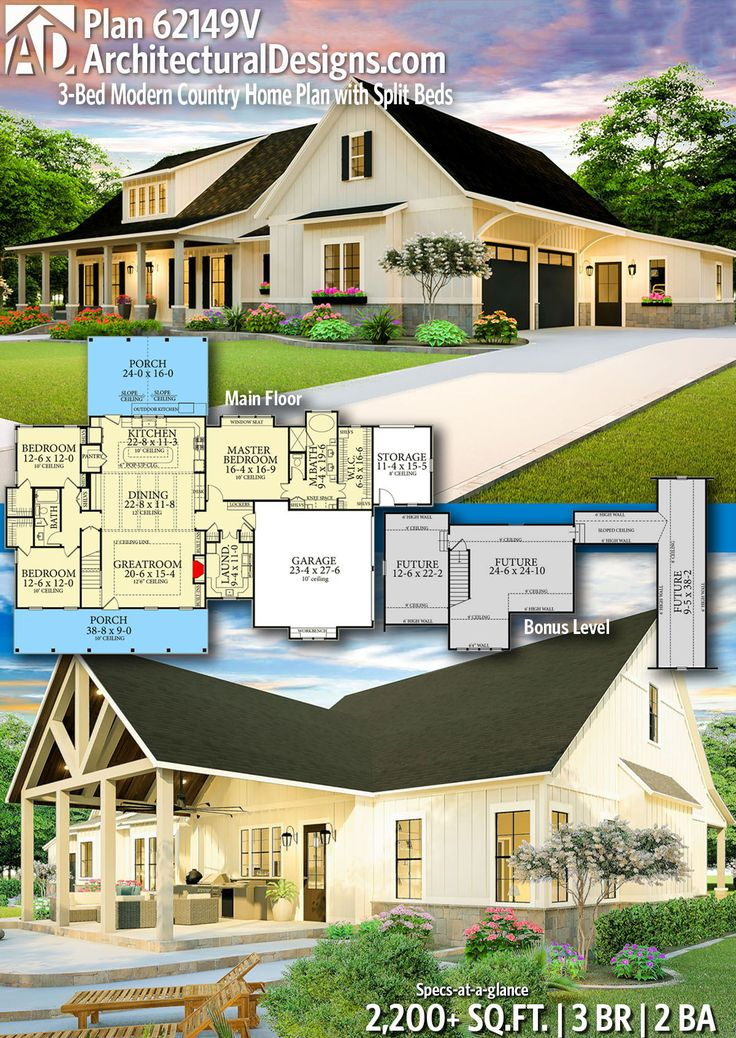 Plan 62149V: 3-Bed Modern Country Home Plan with Split Beds