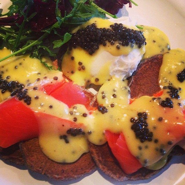 I made brunch w incredible gift of glorious caviar: buckwheat blini, hollandaise, poached egg, Alaskan salmon