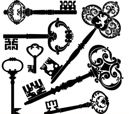 Free Retro Clip Art | ... retro vintage keys in vector. Archive contains a set of 2 EPS clip art