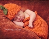 Thanksgiving or Halloween Pumpkin baby outfit - hat and cocoon, perfect newborn photo prop and Halloween costume