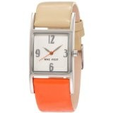 Nine West Women's NW/1297SVOC Strap Square Silver-Tone Orange and Tan Strap Watch (Watch)  #Whatches