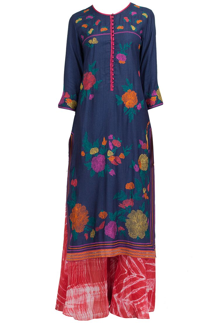 Navy embroidered long dress with shibori palazzo available only at Pernia's Pop-Up Shop.