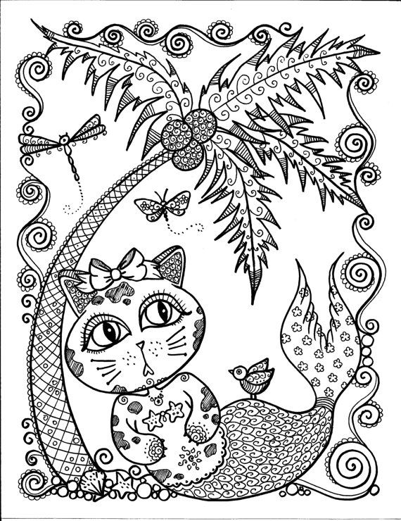 instant download cute merkitty coloring page you by chubbymermaid adultcp beachy cats beach coloring pagescoloring book pagespalm treesthe - Palm Tree Beach Coloring Page