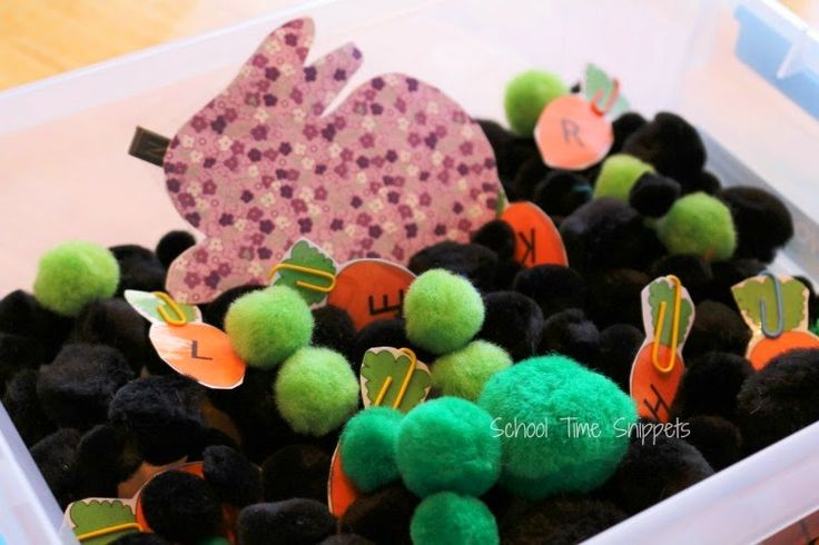 School Time Snippets: ABC Carrot Patch Sensory Bin {Free Printable}