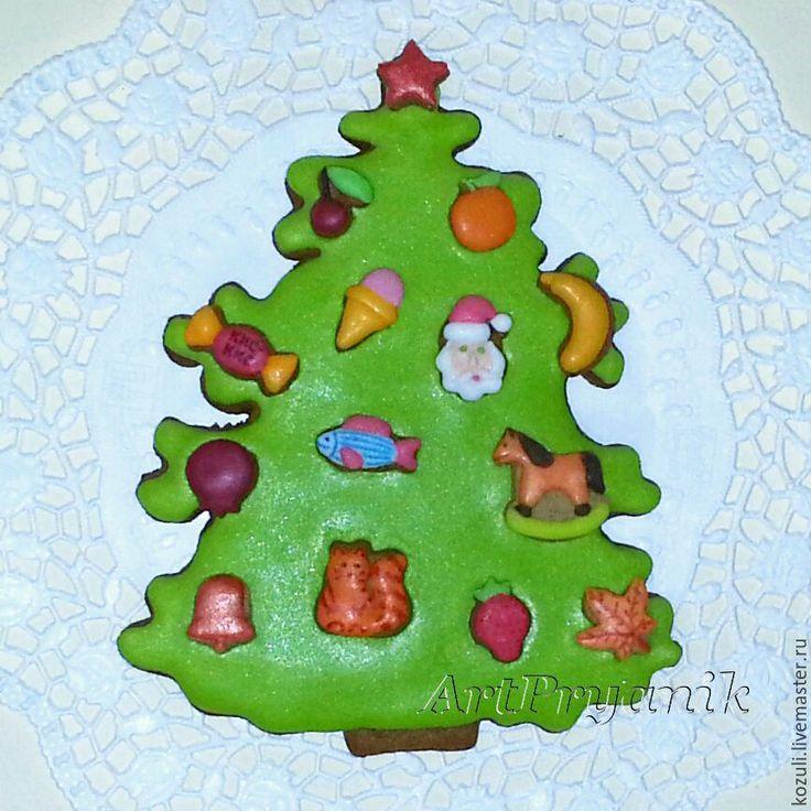 Купить Пряничные елки с медовыми игрушками, подарок на Новый год и Рождество, подарок ребенку, Christmas tree cookie, miniature cookie ornaments, New Year sweet gift.