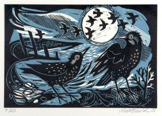Mark Hearld - Starlings on the Shore - Linocut