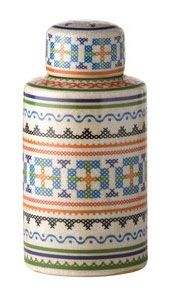 Marrakesh Decorative Pot. AUD $99.00  The Marrakesh Decorative Pot features a beautiful selection of colours in a cross-stitch inspired design.
