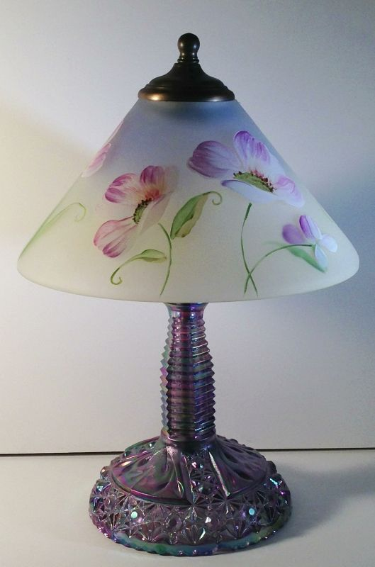 Fenton Reverse Painted Crystal Satin Shade Table Lamp ~ White And Purple