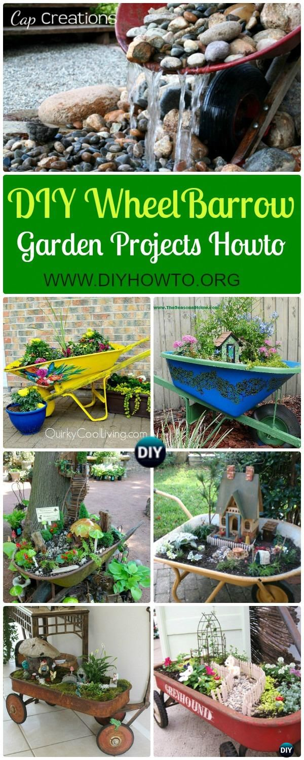 Collection of DIY WheelBarrow Garden Projects: DIY WheelBarrow Garden Planter Free Plan,  WheelBarrow Fairy Garden,  Wheel Barrow Garden Fountain via @diyhowto