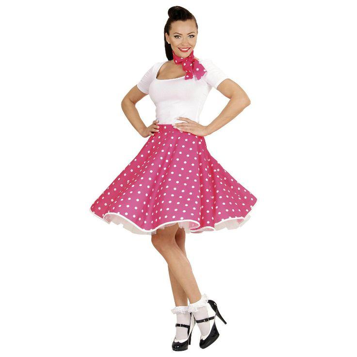 Disfraz de Falda Años 60 Rosa #disfraces #carnaval